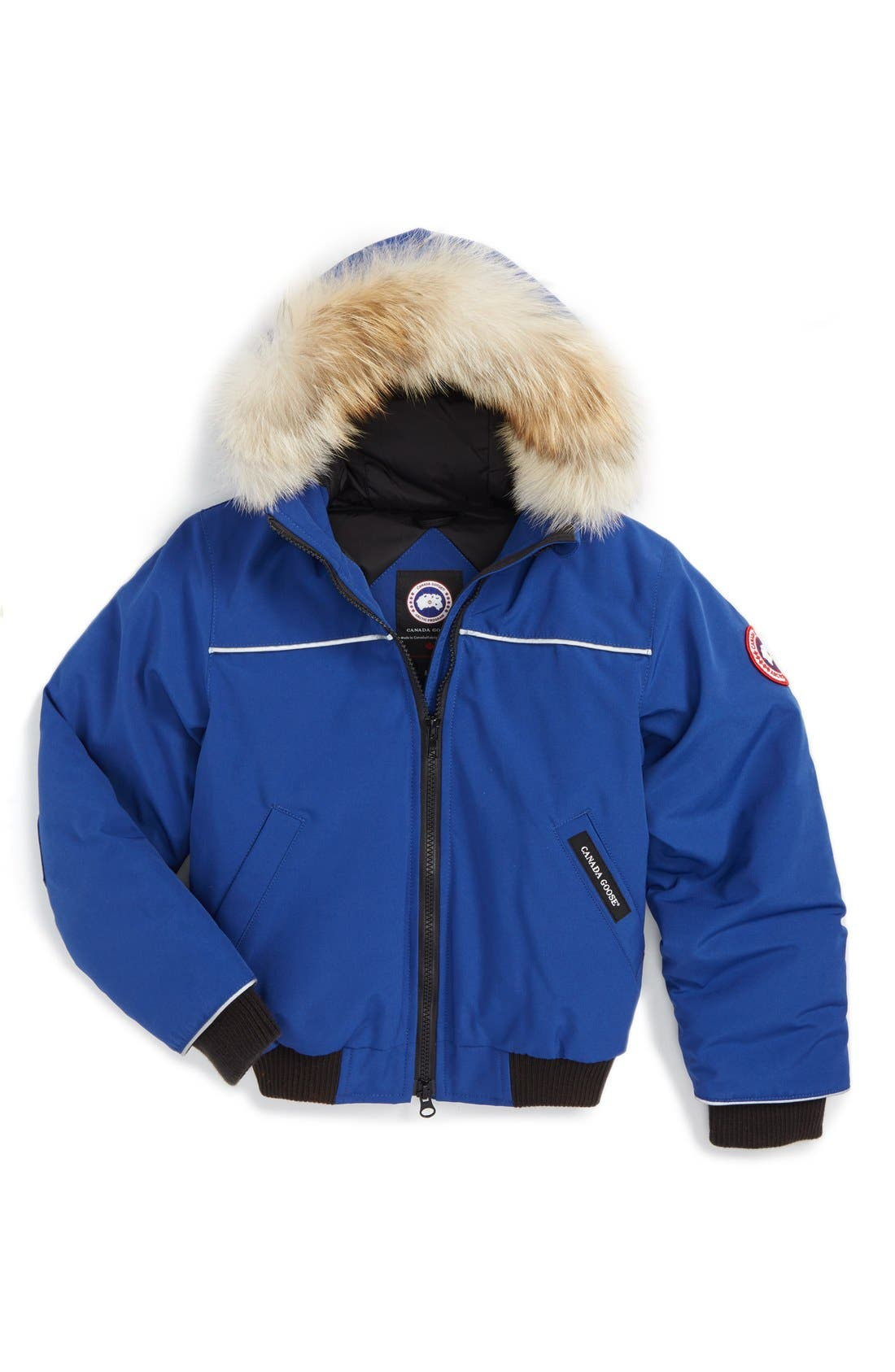 'Grizzly' Down Hooded Bomber Jacket with Genuine Coyote Fur Trim,                             Main thumbnail 1, color,                             Pacific Blue