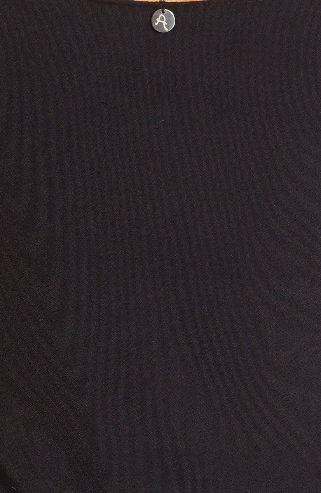 'Cate' Mesh Stripe V-Neck Slipdress,                             Alternate thumbnail 5, color,                             Black