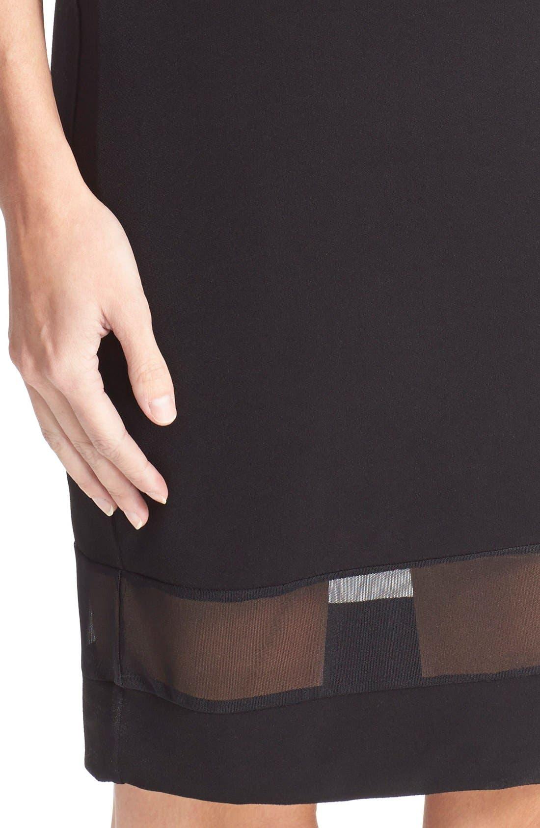 'Cate' Mesh Stripe V-Neck Slipdress,                             Alternate thumbnail 4, color,                             Black