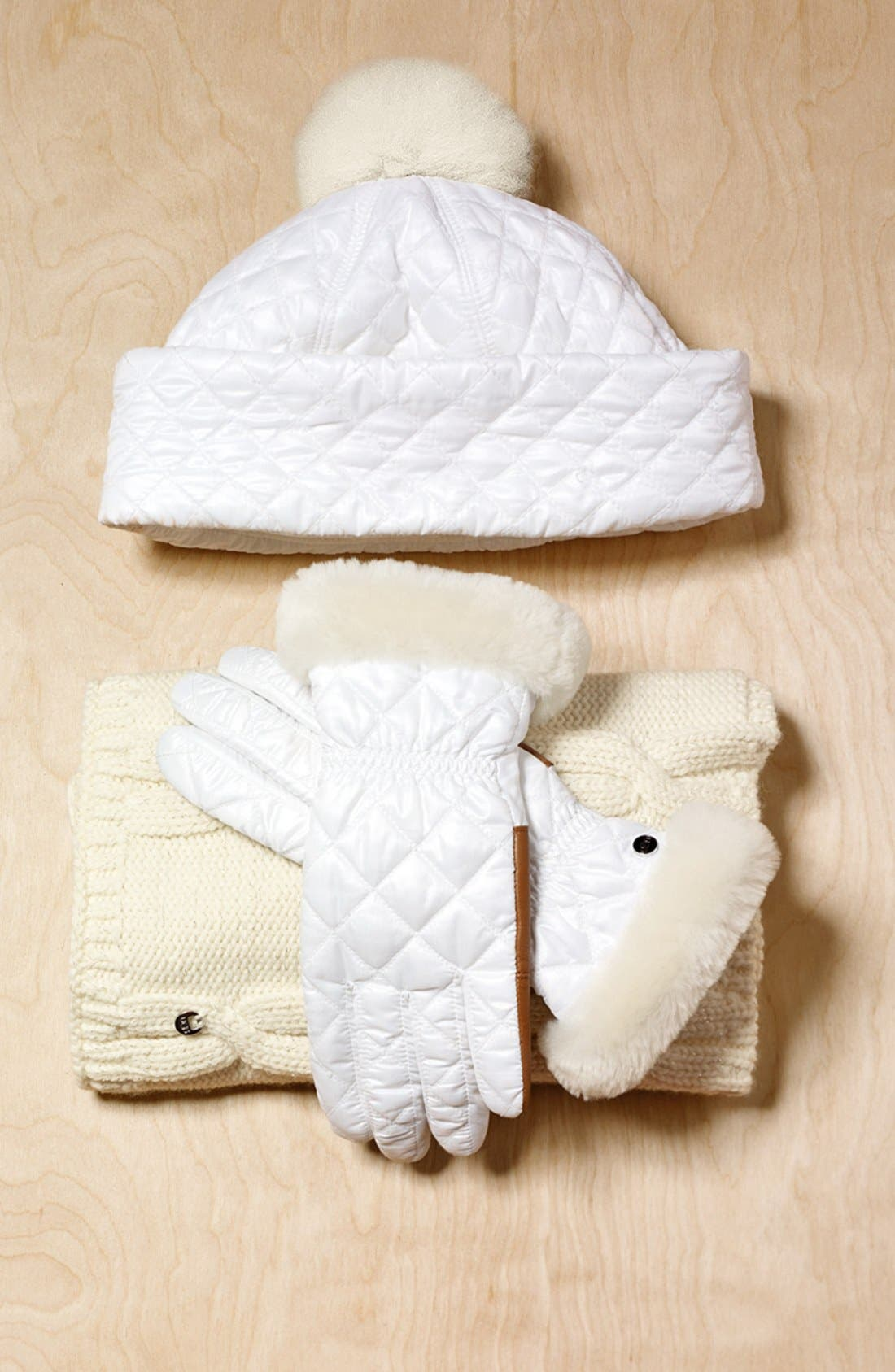 Alternate Image 4  - UGG® Australia Water ResistantQuilted Hat with Genuine ShearlingPompom