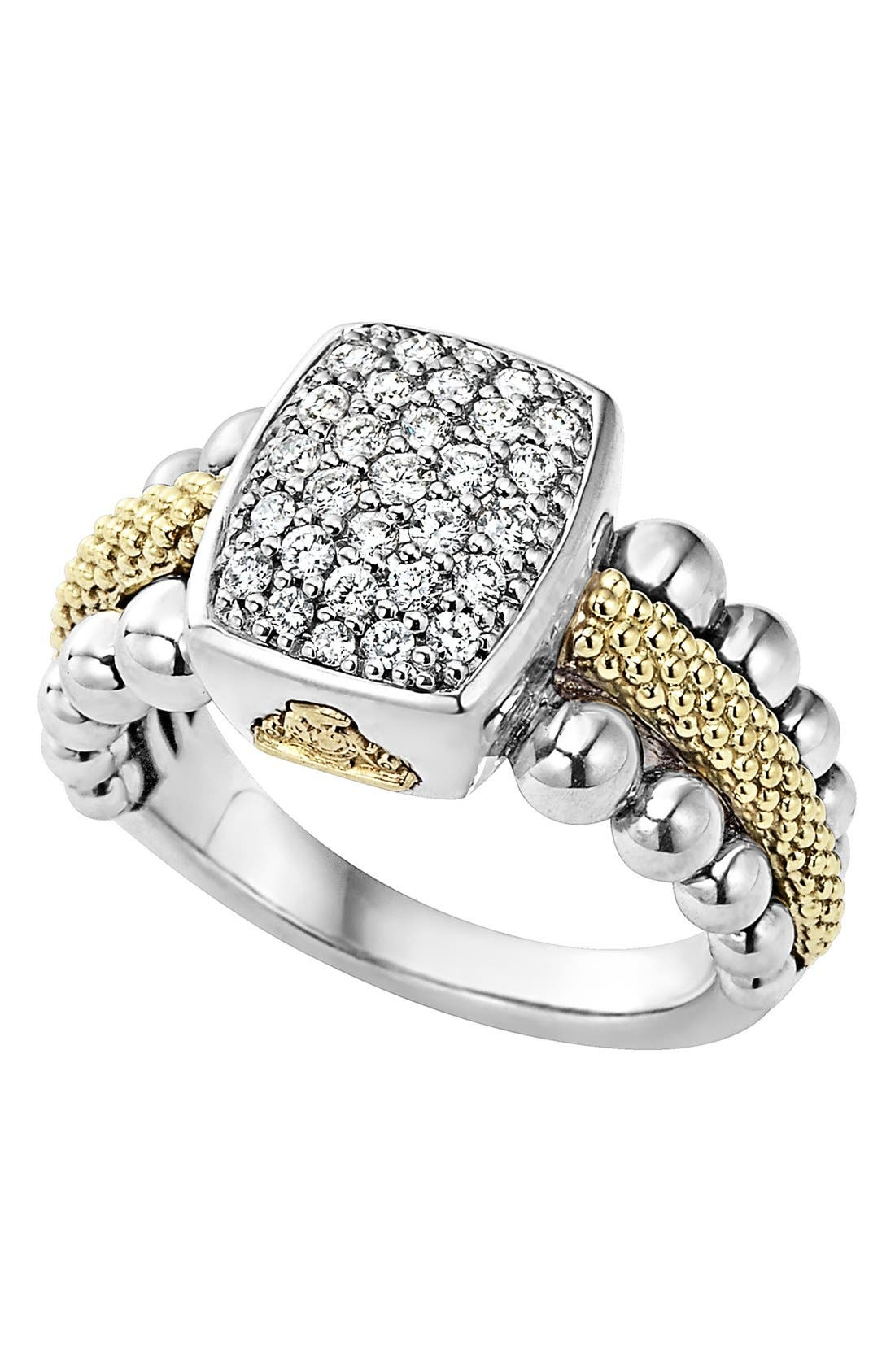 Diamond Caviar Square Ring,                         Main,                         color, Silver/ Gold