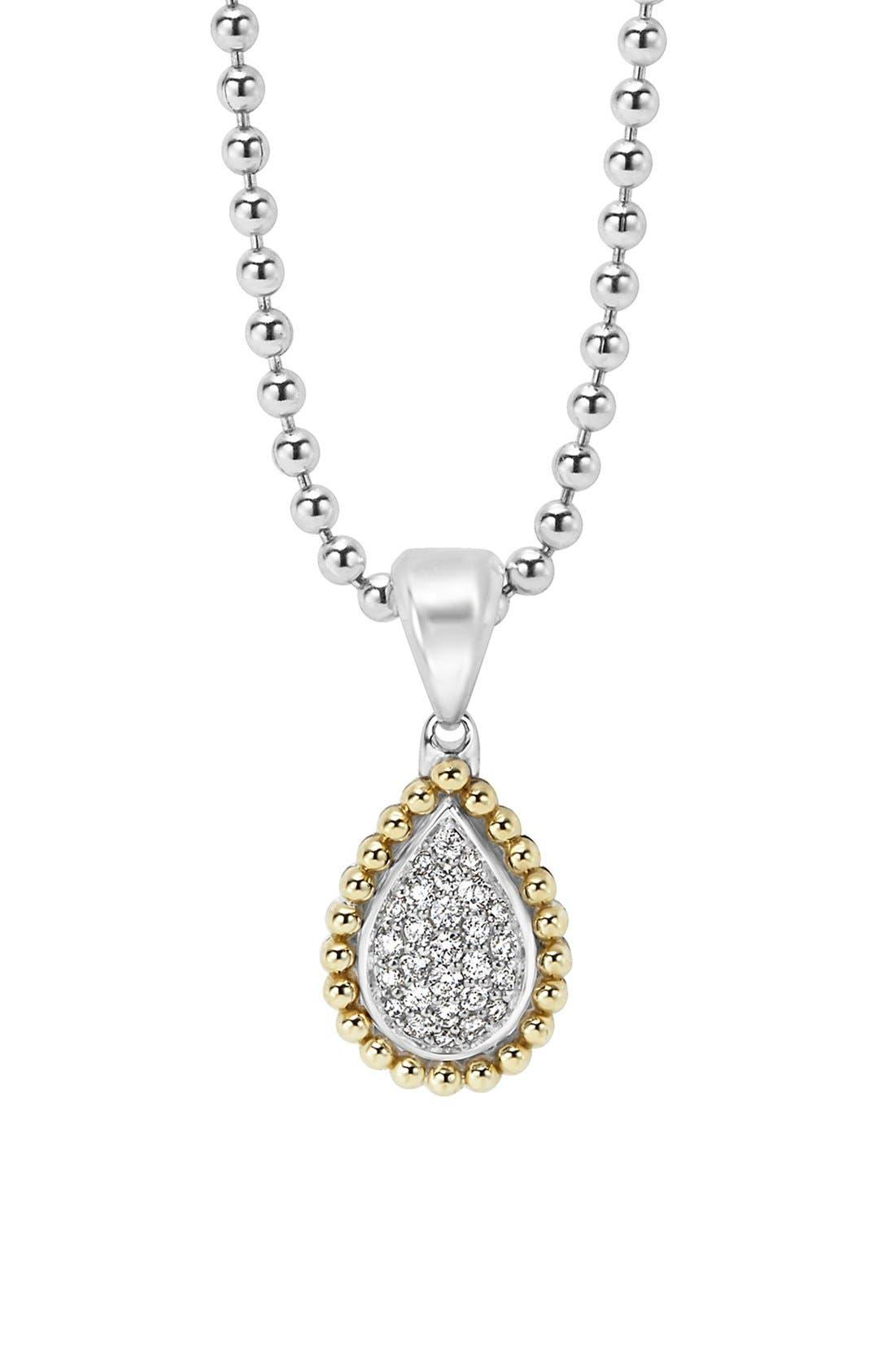 Diamond Caviar Teardrop Pendant,                         Main,                         color, Silver/ Gold