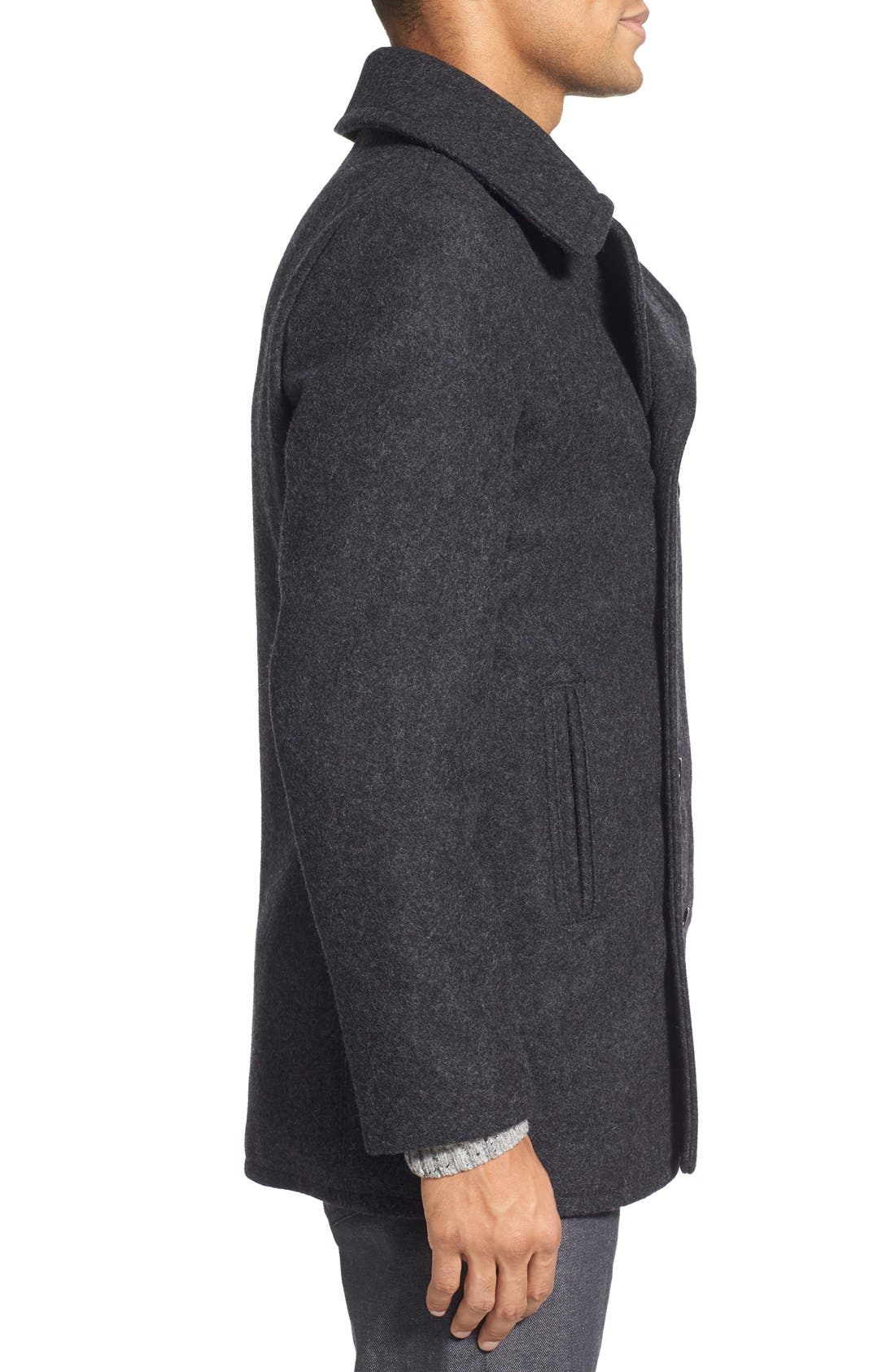 Slim Fit Wool Blend Peacoat,                             Alternate thumbnail 3, color,                             Dark Oxford Grey