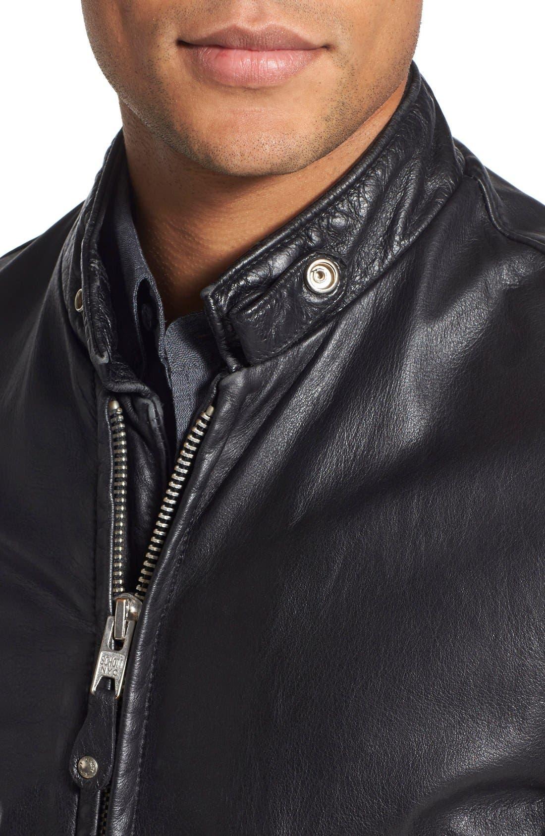 Café Racer Hand Vintaged Cowhide Leather Jacket,                             Alternate thumbnail 4, color,                             Black