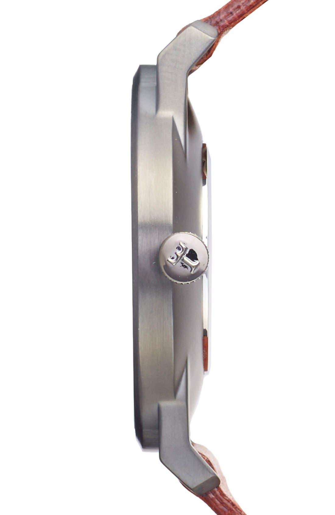 Walter Falken Organic Leather Strap Watch, 38mm,                             Alternate thumbnail 4, color,                             Cognac/ Gunmetal/ Gunmetal