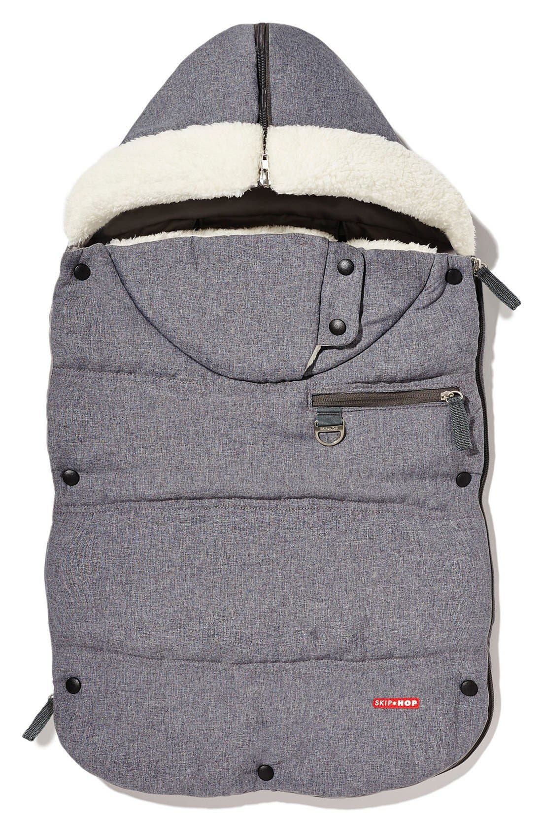 'Stroll & Go Three Season' Hooded Windproof & Water Resistant Footmuff,                             Main thumbnail 1, color,                             Heather Grey