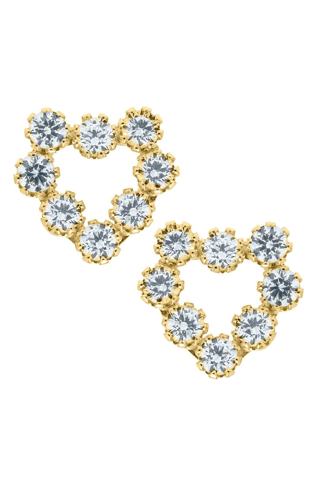 Main Image - Mignonette 14k Gold & Cubic Zirconia Heart Earrings (Baby Girls)