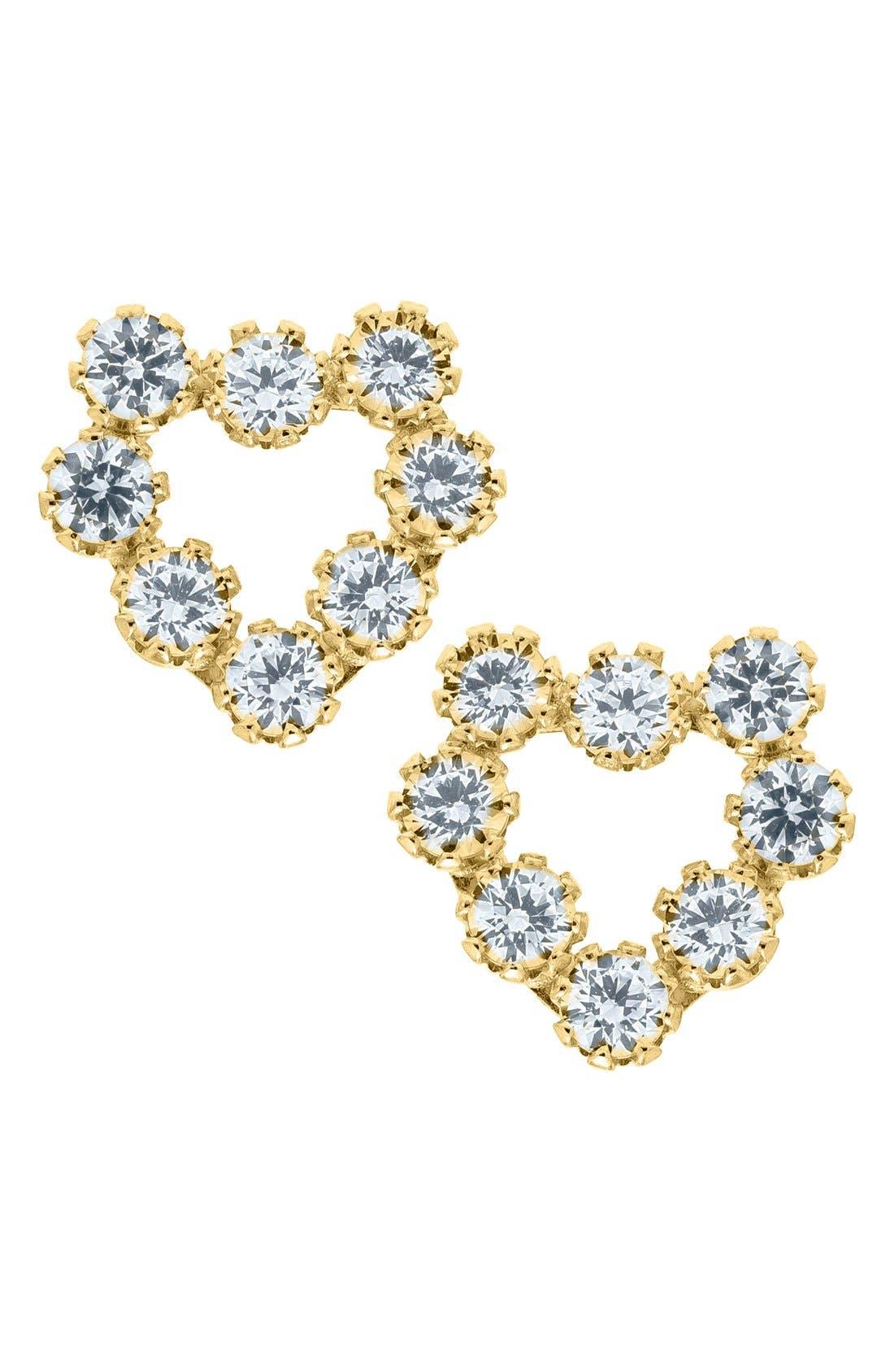 14k Gold & Cubic Zirconia Heart Earrings,                         Main,                         color, Gold