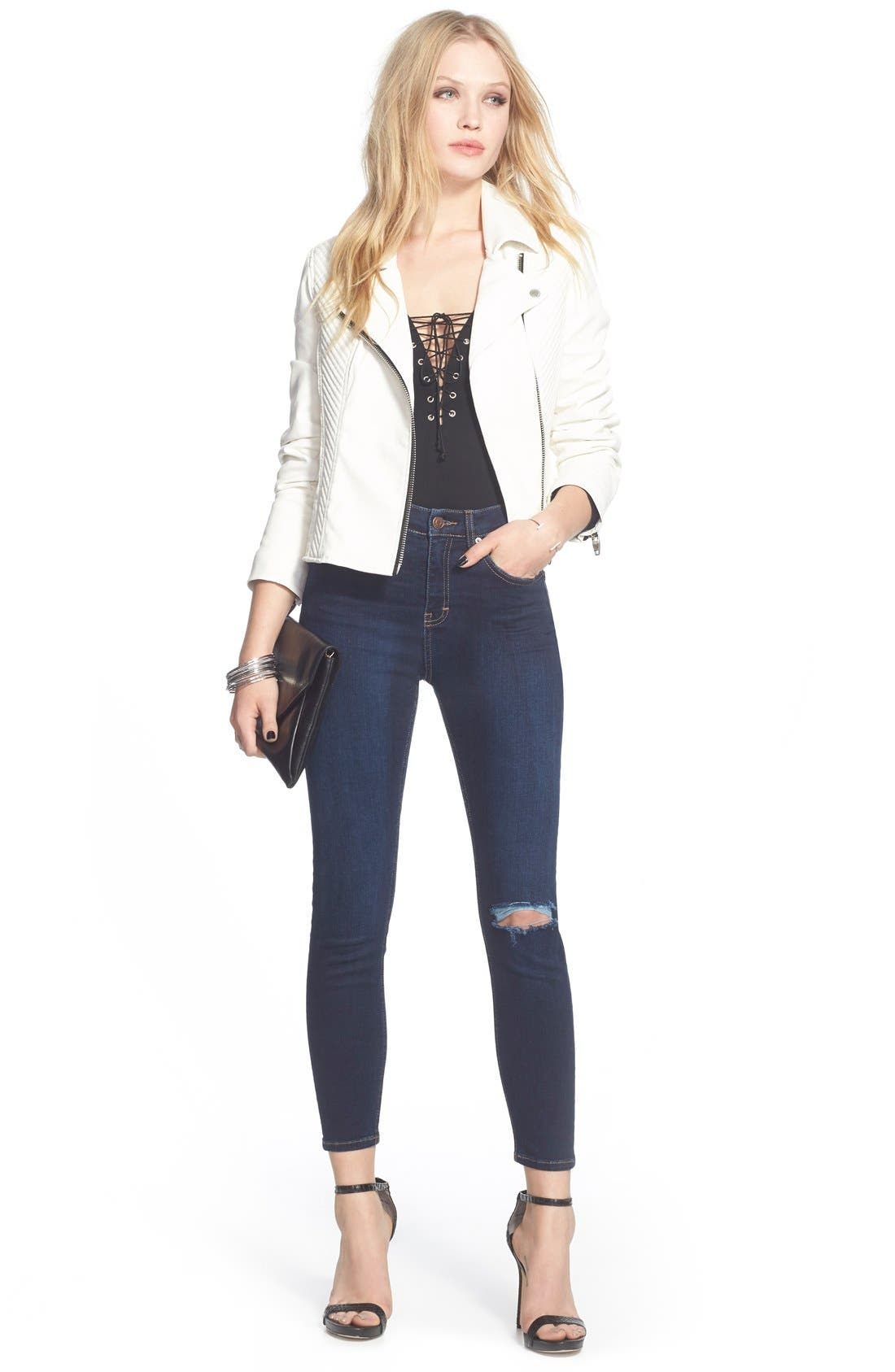 Alternate Image 6  - Topshop Moto 'Jamie' Ripped Skinny Jeans (Navy Blue)
