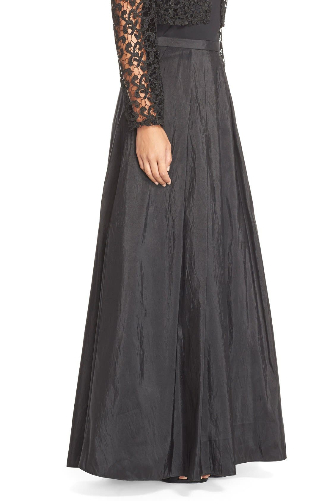 Taffeta Ball Skirt,                             Alternate thumbnail 3, color,                             Black