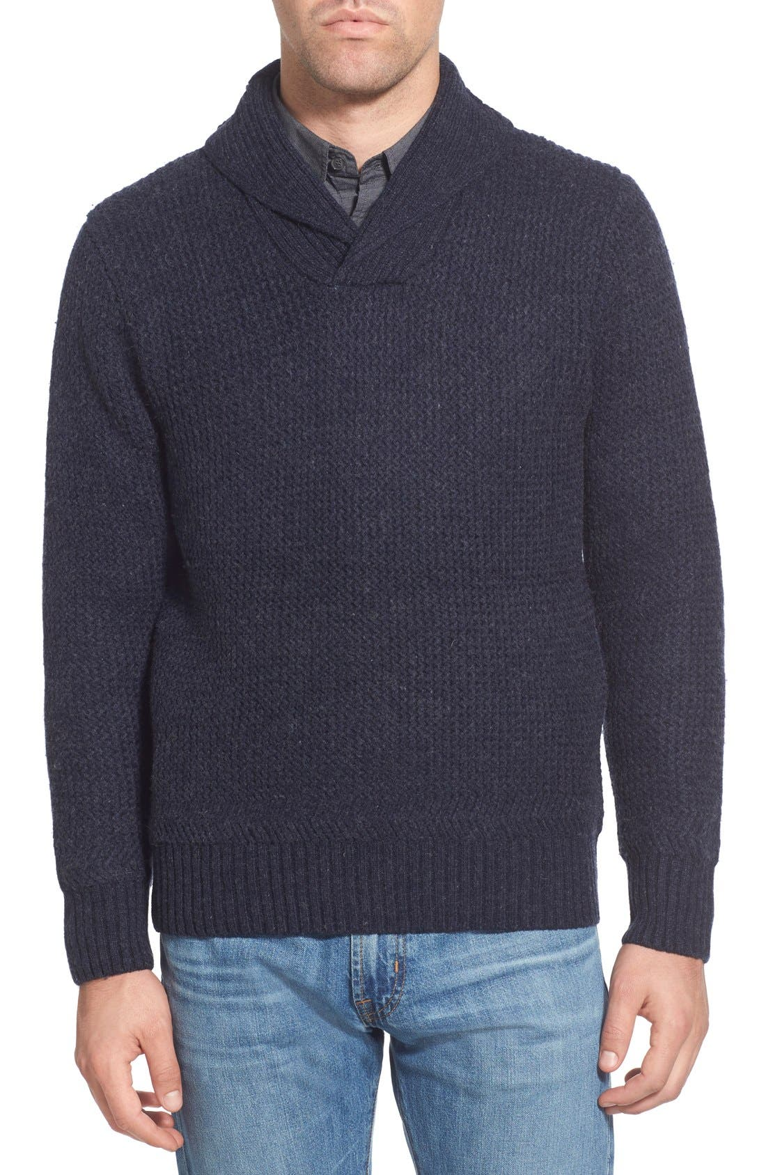 Regular Fit Shawl Collar Sweater,                             Main thumbnail 1, color,                             Navy