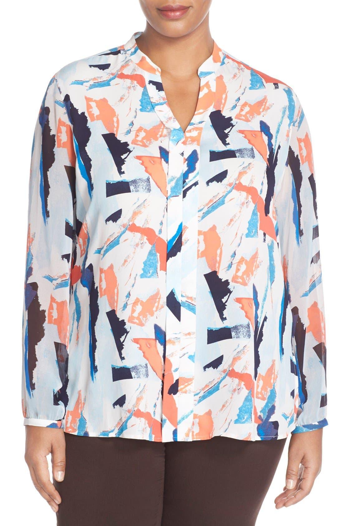Sheer Sleeve Split Neck Blouse,                             Main thumbnail 1, color,                             Blue Abstract Ship Print