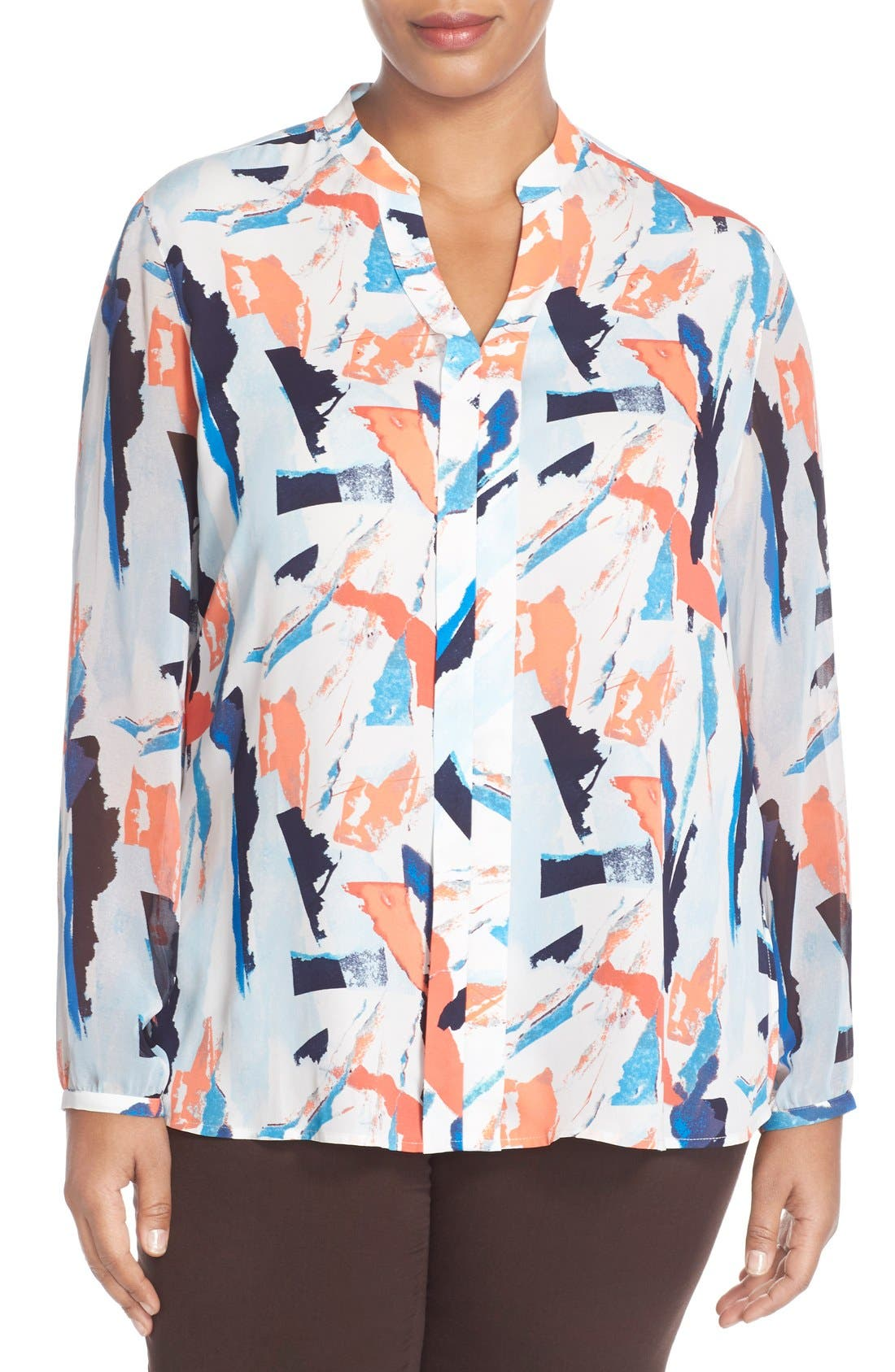 Sheer Sleeve Split Neck Blouse,                         Main,                         color, Blue Abstract Ship Print