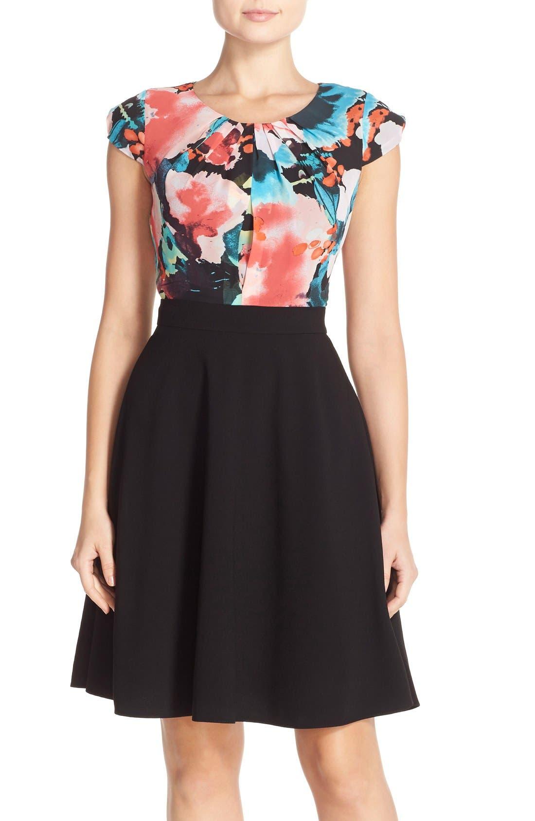 Main Image - Tahari Floral Print Fit & Flare Dress (Regular & Petite)