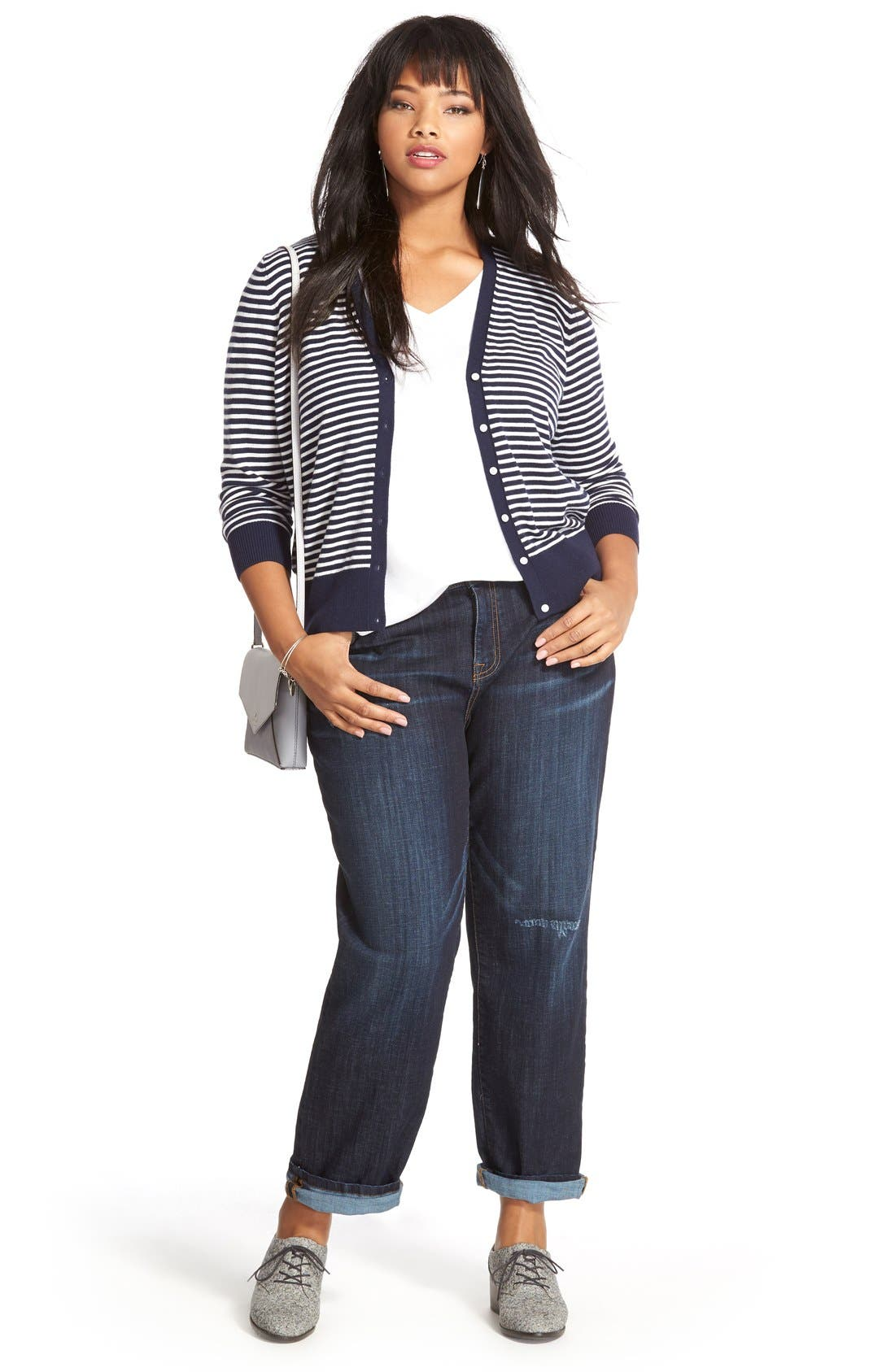 Sejour Cardigan, Tee & KUT from the Kloth Straight Leg Jeans (Plus Size)