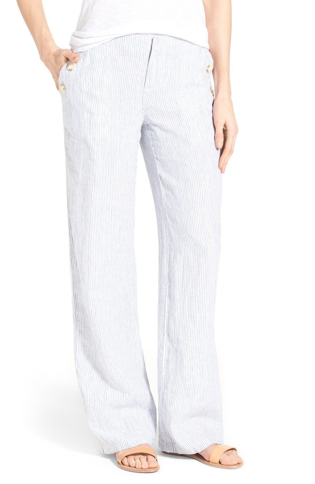Alternate Image 1 Selected - Caslon® Linen Sailor Pants (Regular & Petite)
