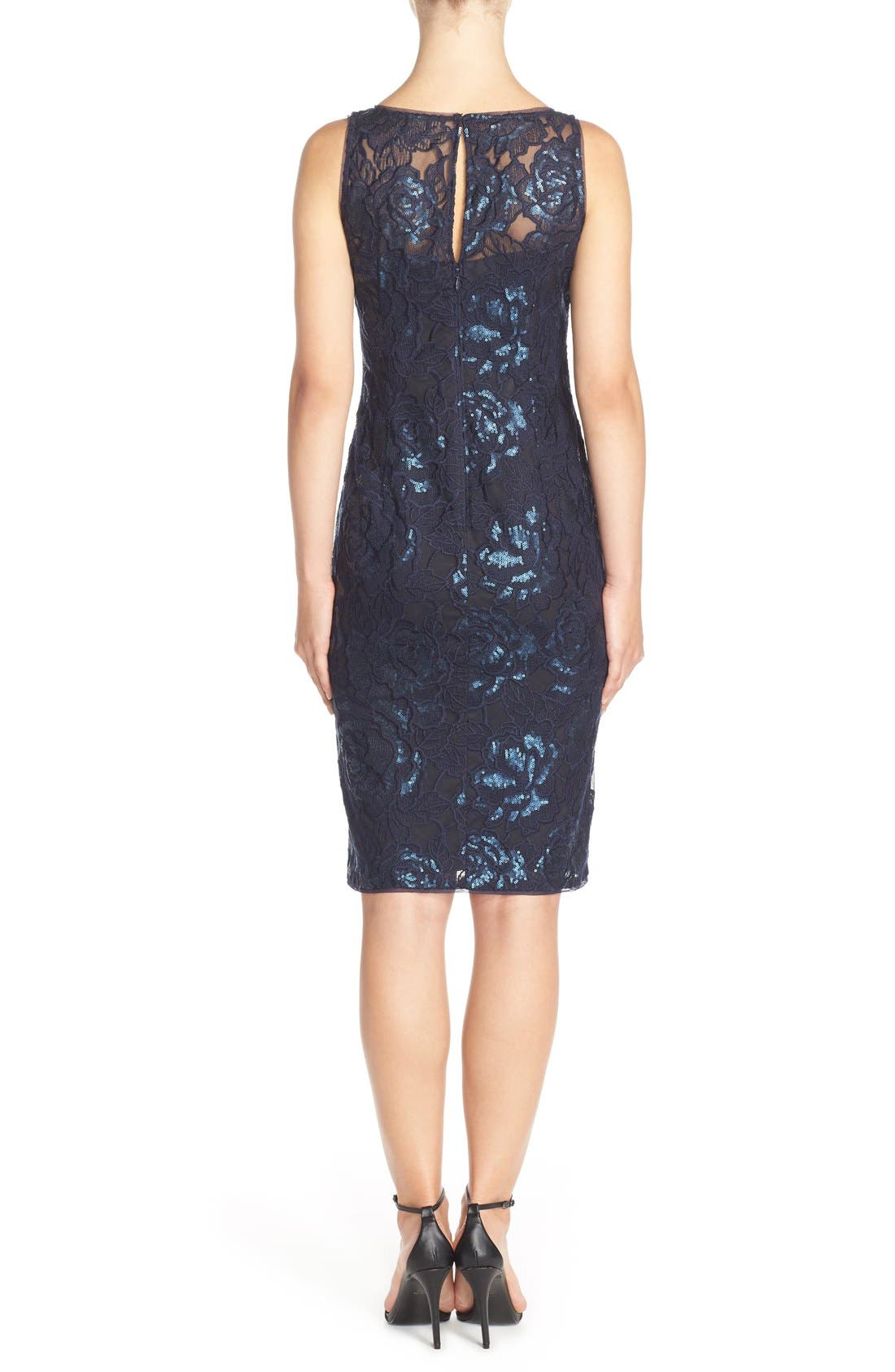 Illusion Sequin Lace Sheath Dress,                             Alternate thumbnail 2, color,                             Navy
