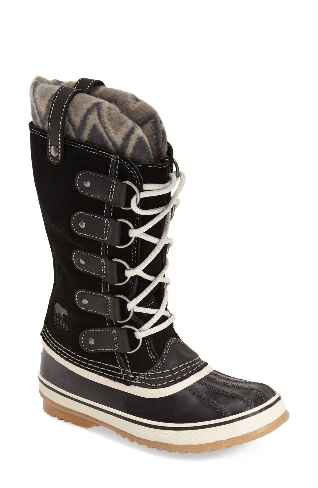 'Joan of Arctic - Knit II' Waterproof Boot,                             Main thumbnail 1, color,                             Black