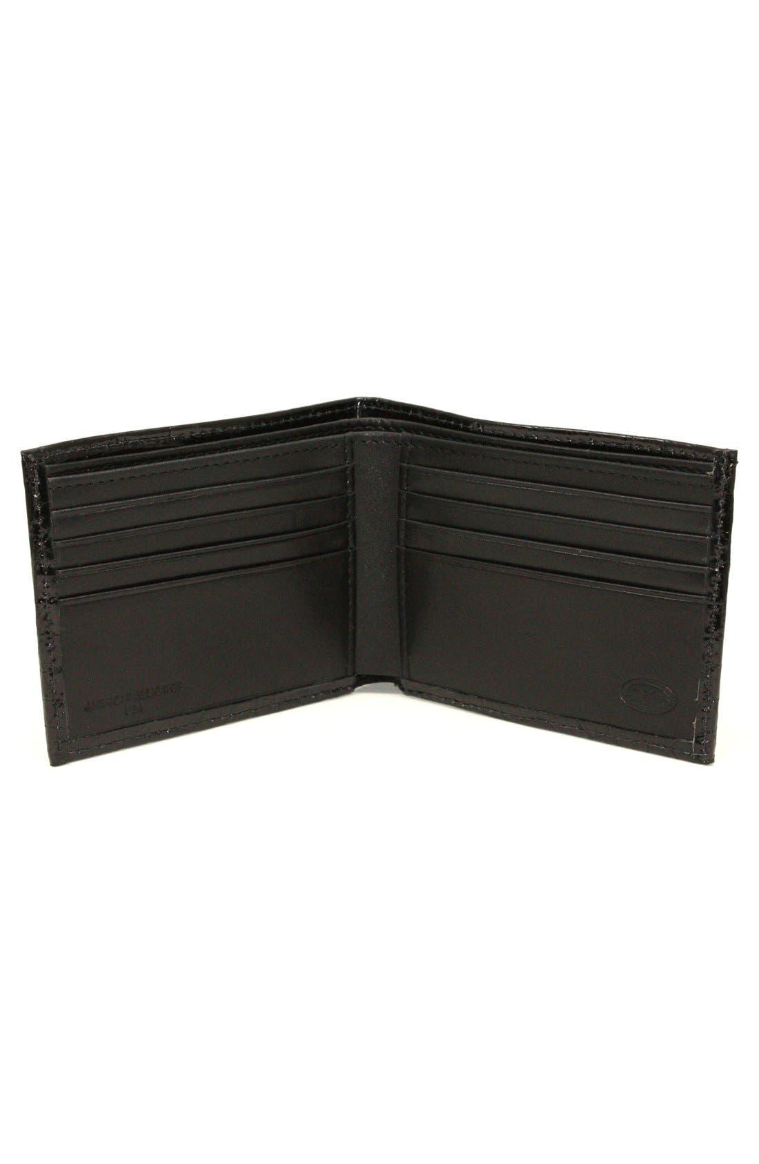Genuine Alligator Wallet,                             Alternate thumbnail 2, color,                             Black
