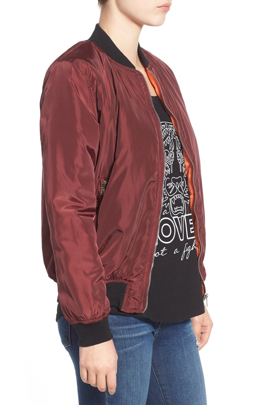 Bomber Jacket,                             Alternate thumbnail 3, color,                             Oxblood