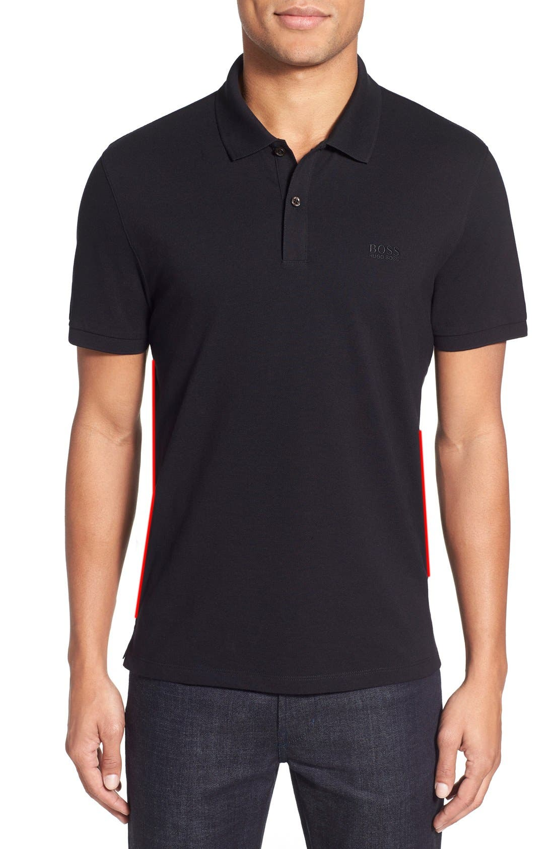 'Pallas' Regular Fit Logo Embroidered Polo Shirt,                         Main,                         color, Black