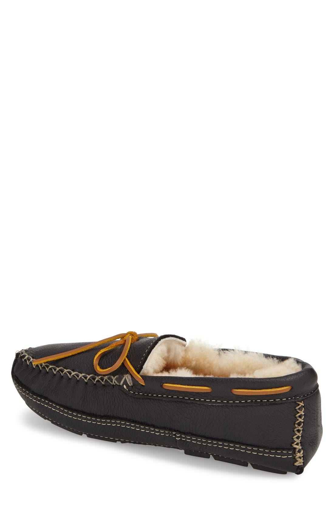 Genuine Shearling Leather Slipper,                             Alternate thumbnail 2, color,                             Black