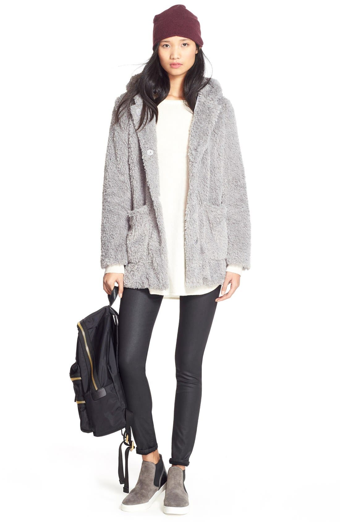 Alternate Image 2  - Kenneth Cole New York 'Teddy Bear' Faux Fur Hooded Coat