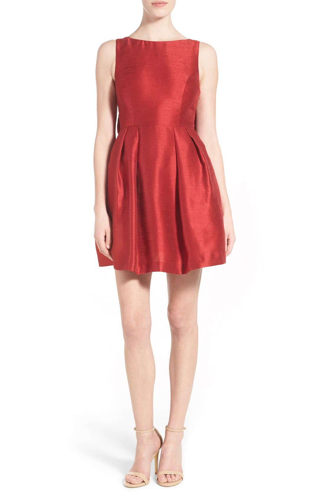 Bow Back Fit & Flare Dress,                             Alternate thumbnail 2, color,                             Dark Red
