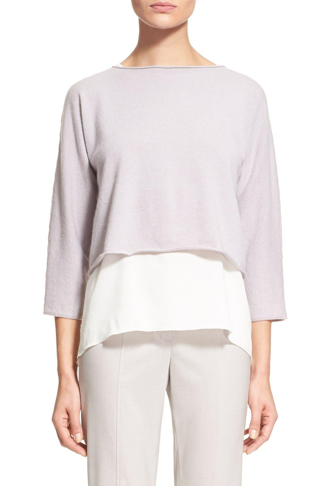 Alternate Image 1  - Fabiana Filippi Contrast Hem Cashmere & Stretch Silk Top