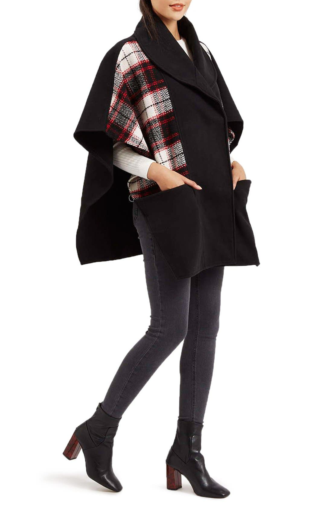 Alternate Image 2  - Topshop Mixed Check Cape