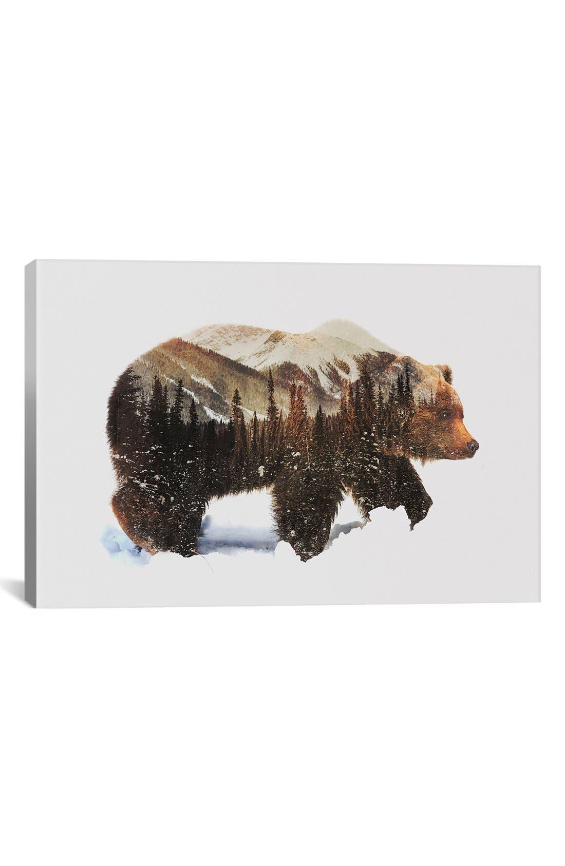 Alternate Image 1 Selected - iCanvas 'Grizzly Bear' Giclée Print Canvas Art