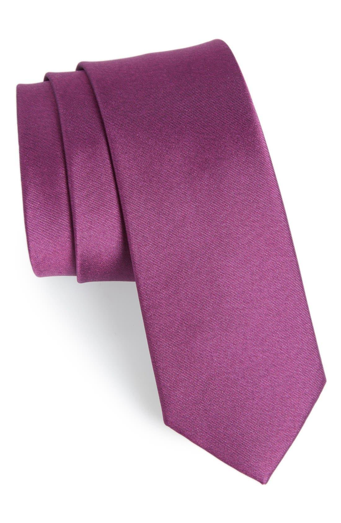 Solid Silk Tie,                         Main,                         color, Azalea