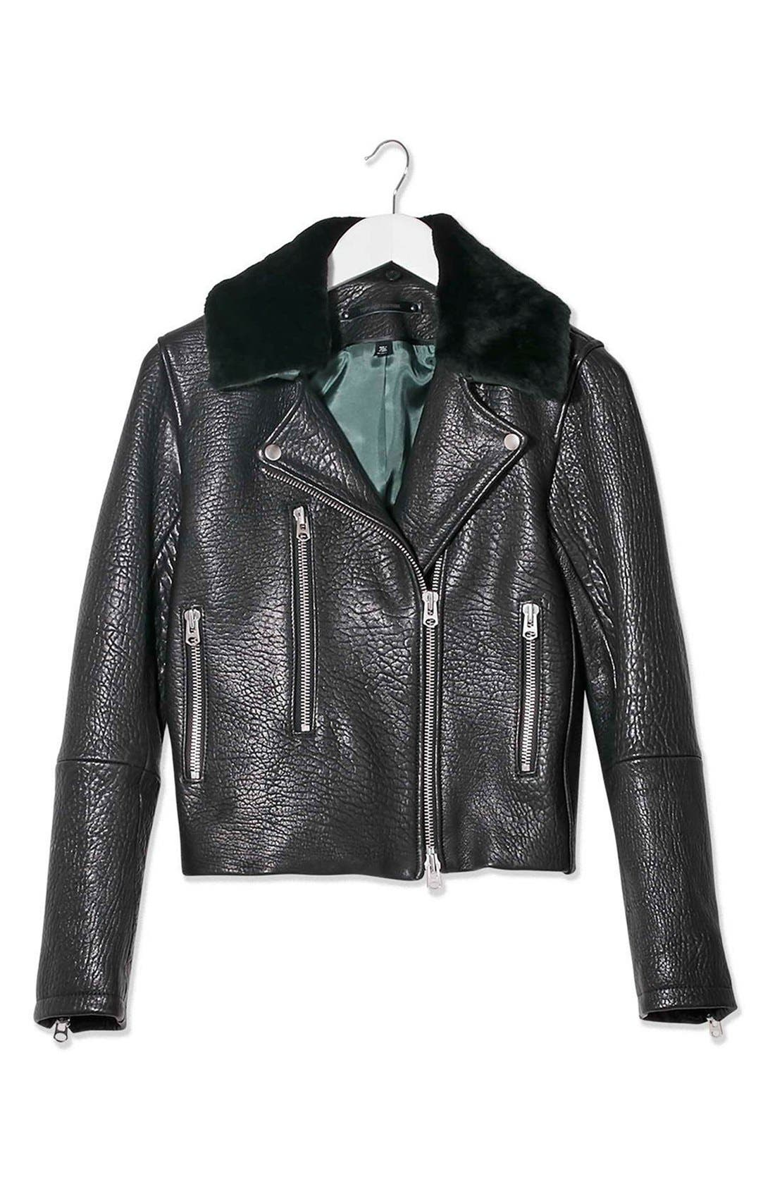 Alternate Image 4  - Topshop Boutique Leather Moto Jacket with Shearling Collar