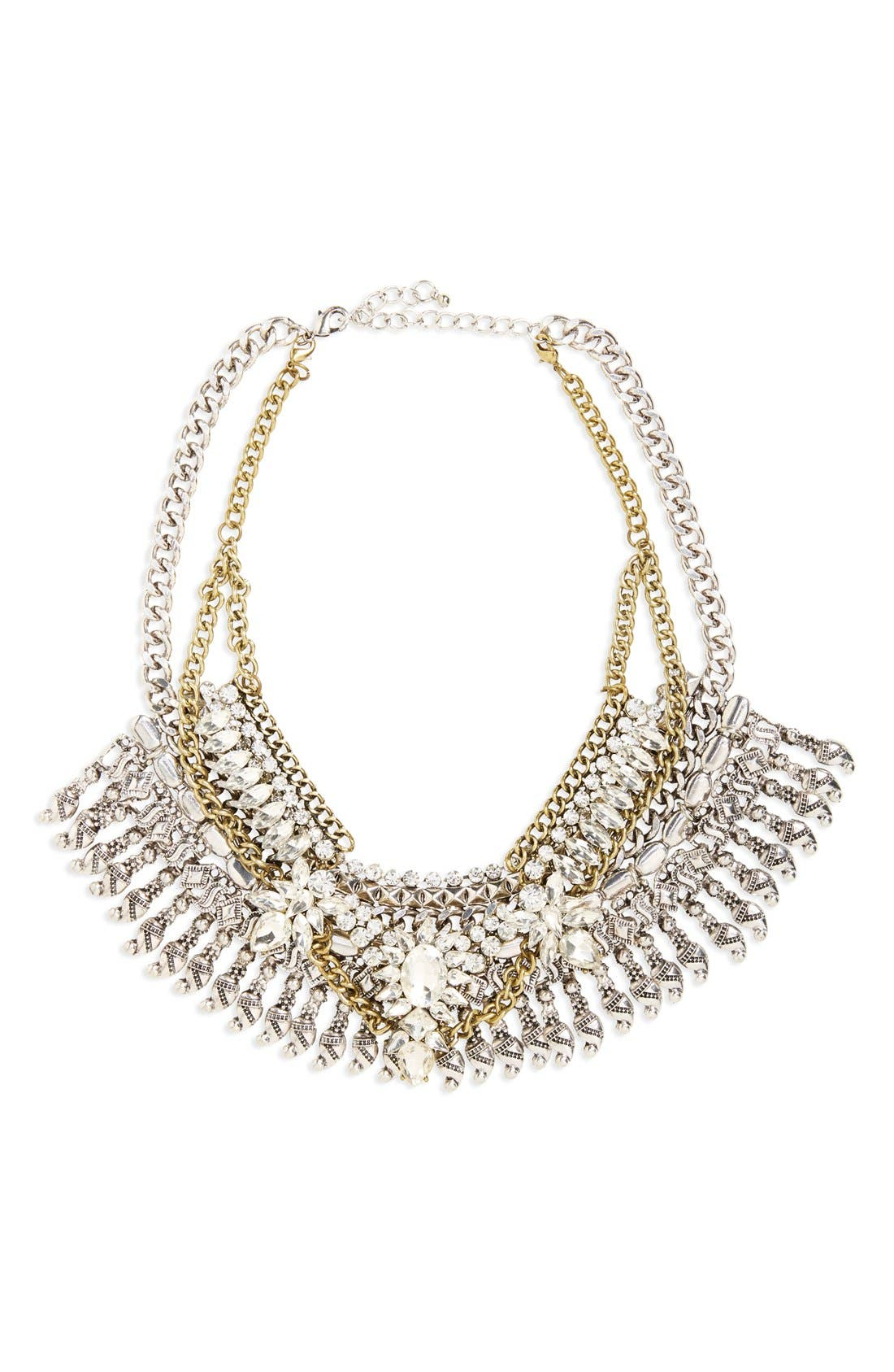 Alternate Image 1 Selected - Leith Crystal & Fringe Layered Statement Necklace