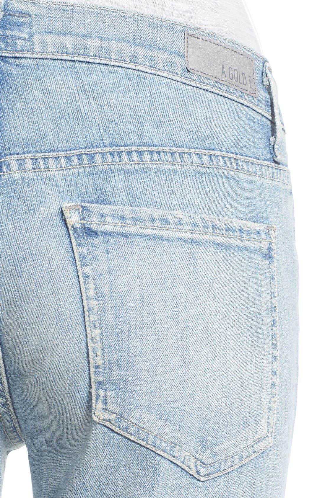 Alternate Image 4  - A Gold E 'Madison' Ultra Flare Jeans (Blue Lagoon)