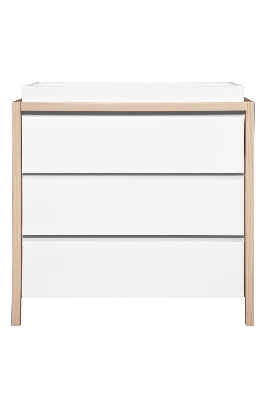 'Bingo' Three Drawer Changer Dresser,                         Main,                         color, White Washed Natural