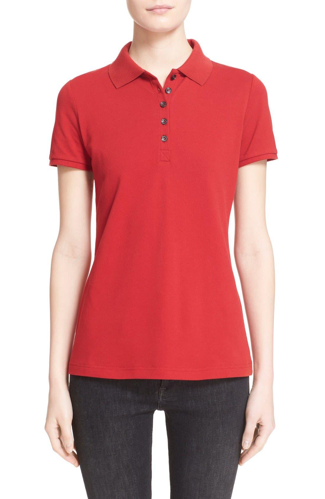 Check Trim Piqué Polo Shirt,                             Main thumbnail 1, color,                             Military Red