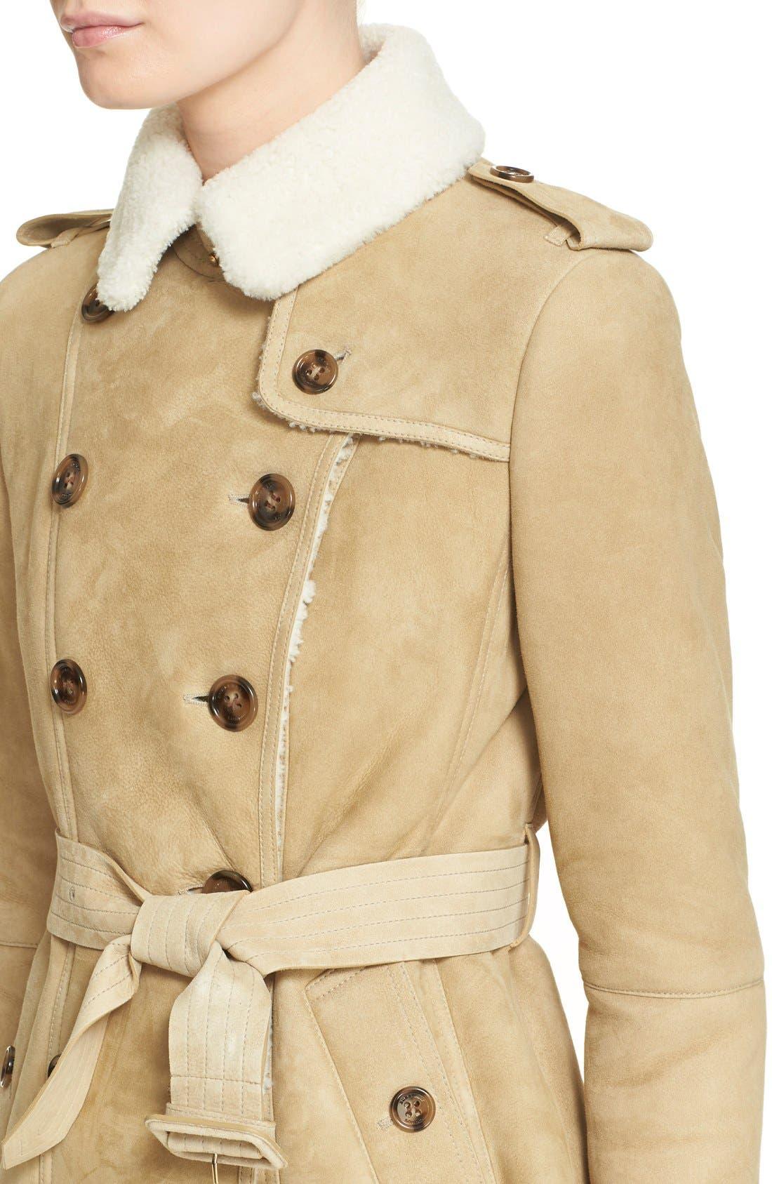 Alternate Image 6  - Burberry London 'Sandringham' Short Genuine Shearling Trench Coat