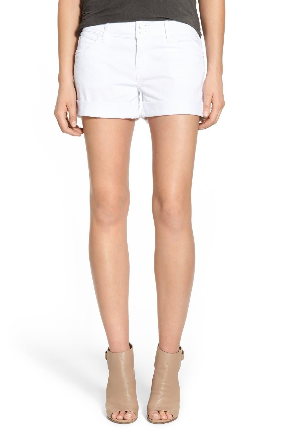 Croxley Cuffed Denim Shorts,                         Main,                         color, White
