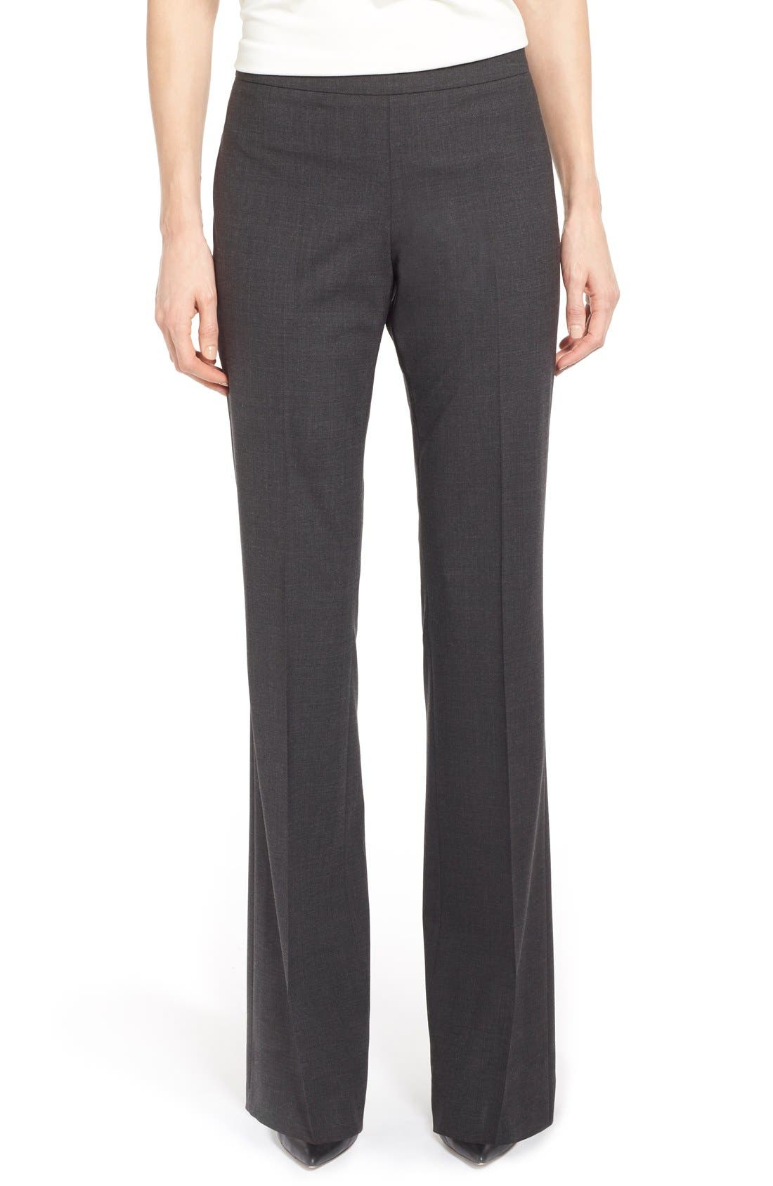 Alternate Image 1 Selected - BOSS Tulea Bootcut Stretch Wool Suit Trousers (Regular & Petite)
