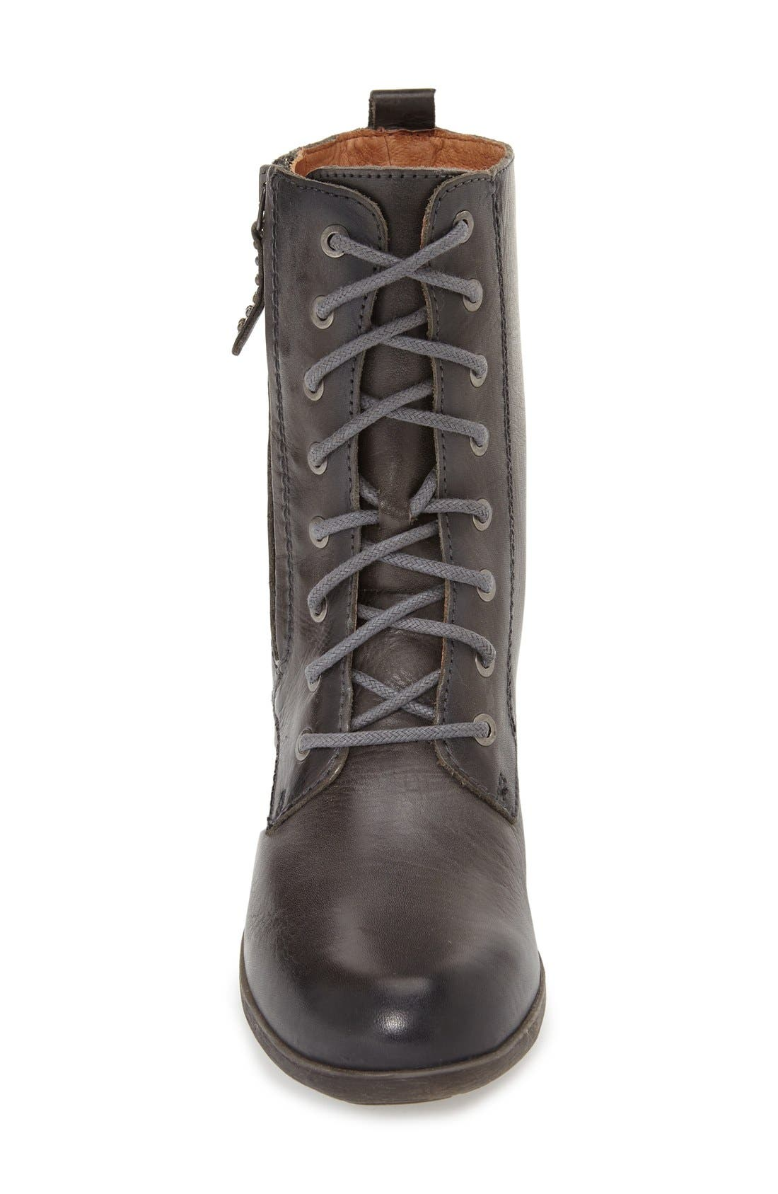 'Rotterdam' Lace-Up Boot,                             Alternate thumbnail 3, color,                             Lead Leather