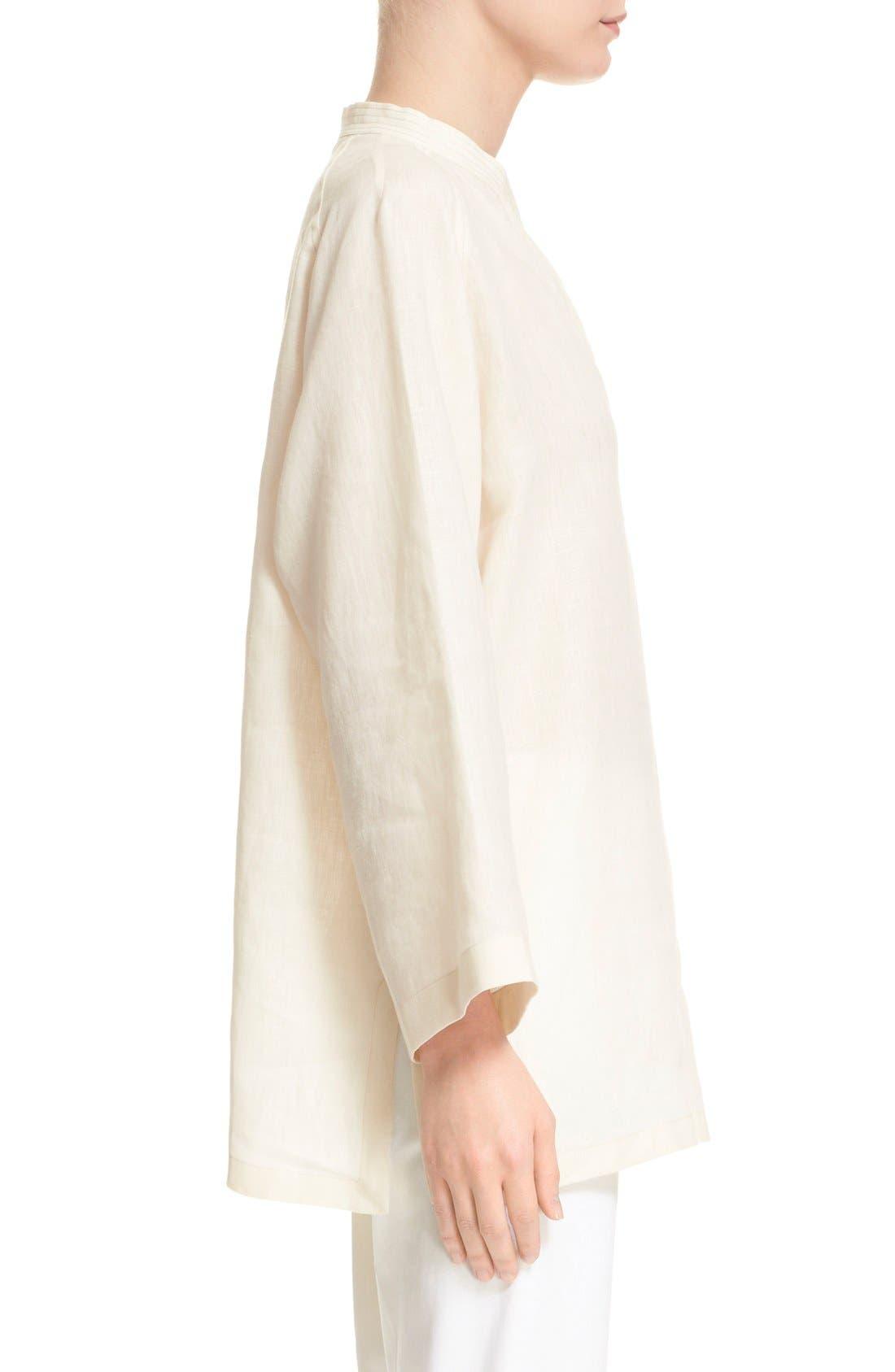 'Picchio' Linen Blouse,                             Alternate thumbnail 4, color,                             Beige