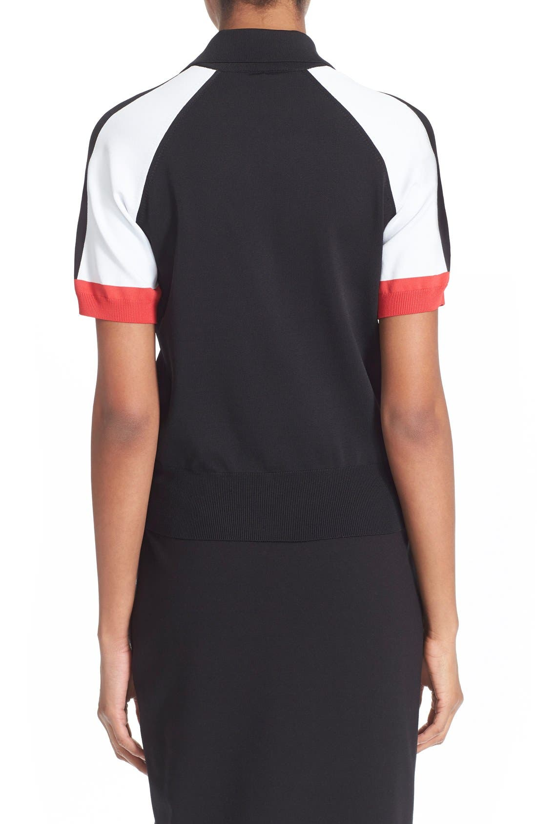 Colorblock Jersey Polo Top,                             Alternate thumbnail 2, color,                             Black