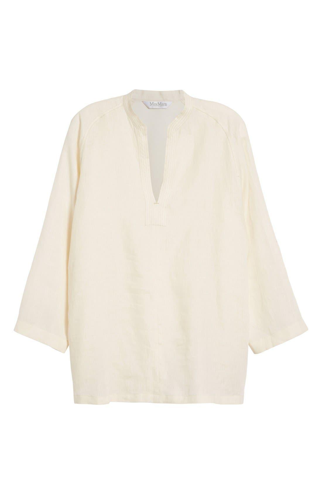 'Picchio' Linen Blouse,                             Alternate thumbnail 3, color,                             Beige