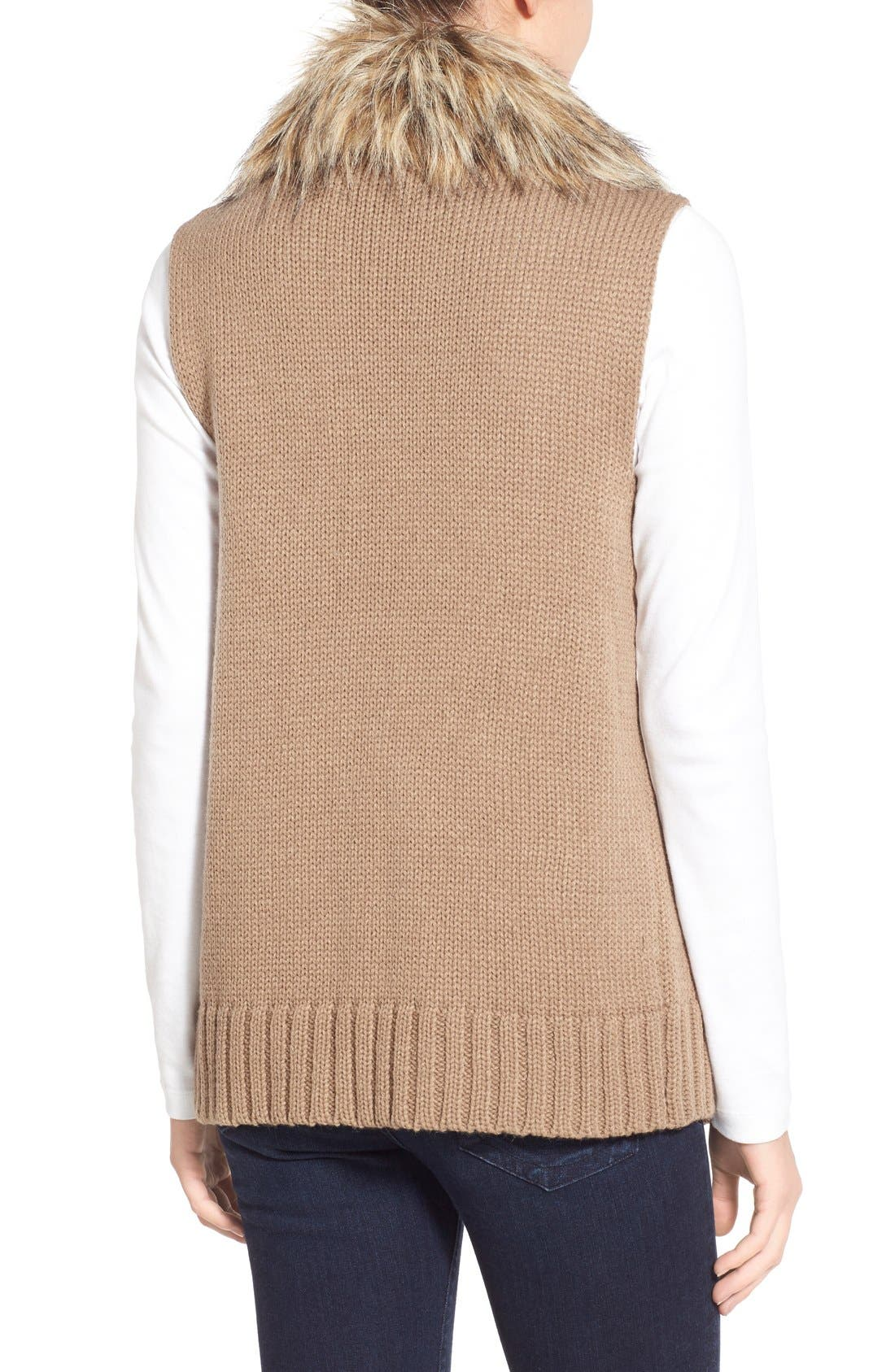 Alternate Image 2  - BB Dakota 'Sadi' Faux Fur Trim Knit Vest