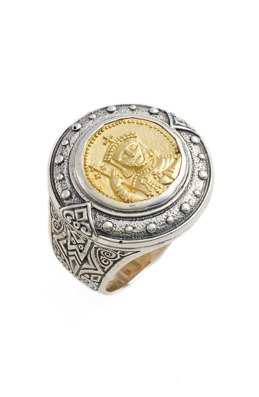 Byzantium Carved Face Ring,                         Main,                         color, Silver