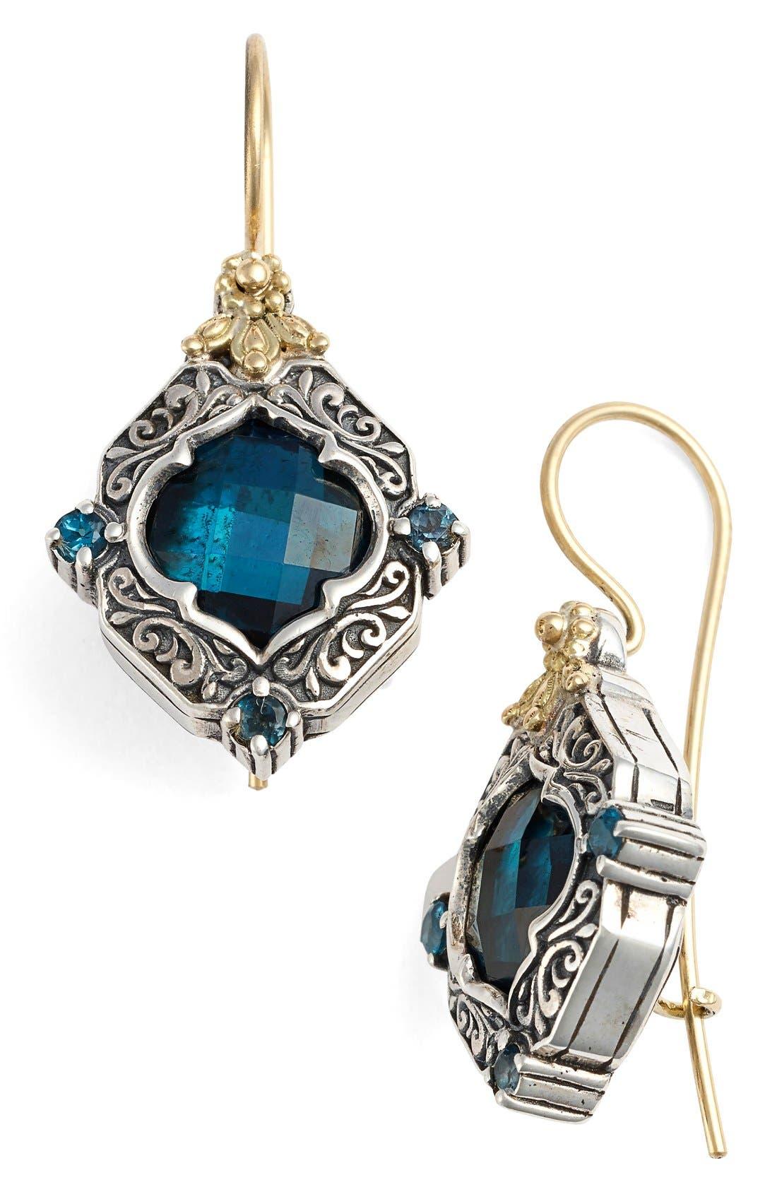 'Thalassa' Drop Earrings,                         Main,                         color, Silver/ Gold/ Blue Topaz