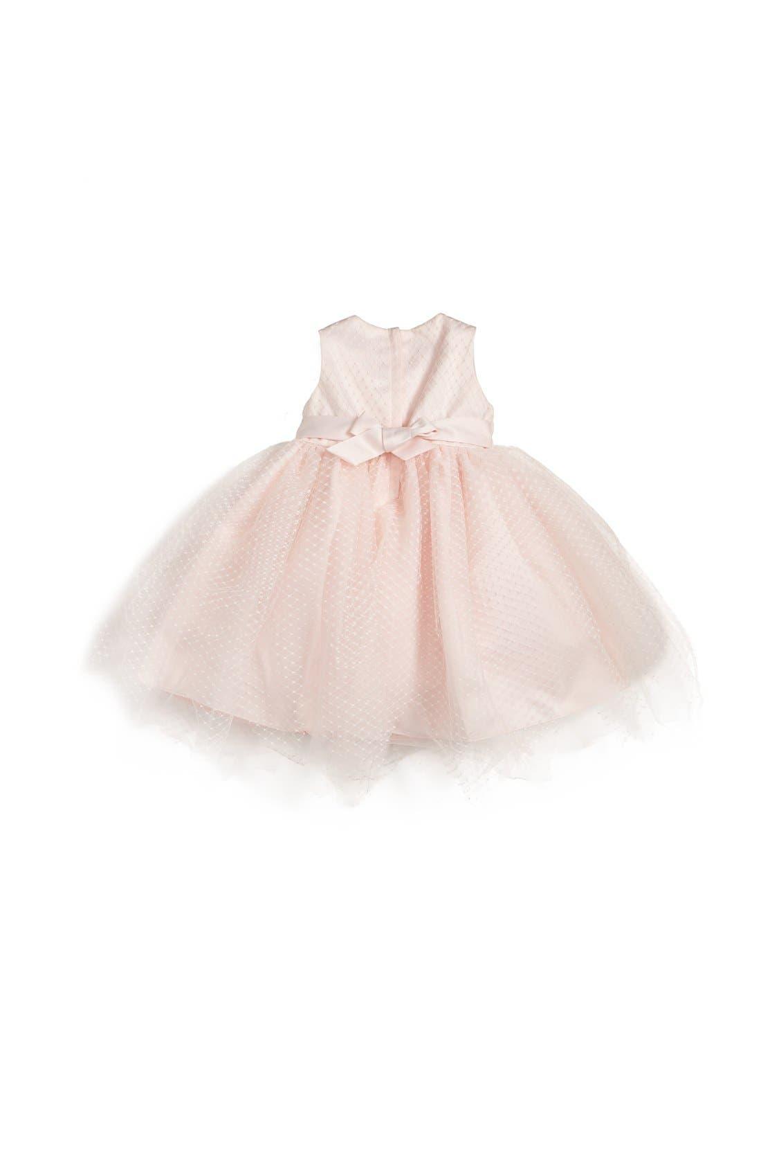 Alternate Image 2  - Us Angels Tulle Overlay Sleeveless Dress (Baby Girls)