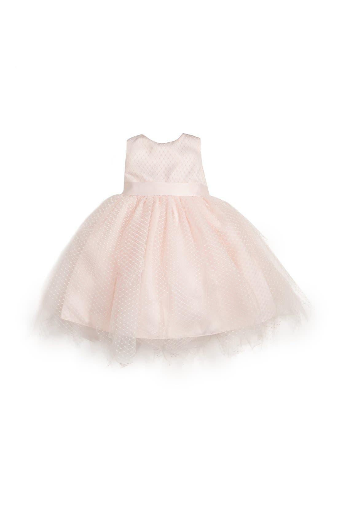 Alternate Image 1 Selected - Us Angels Tulle Overlay Sleeveless Dress (Baby Girls)