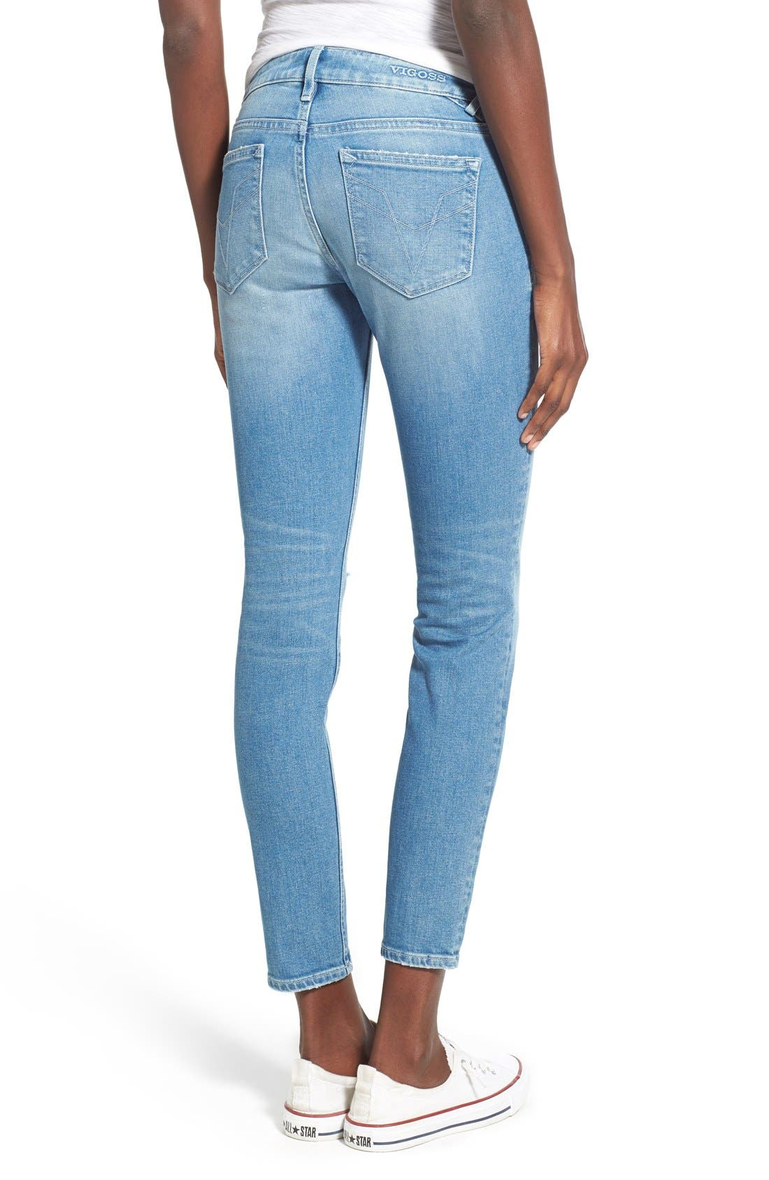 Alternate Image 2  - Vigoss 'Chelsea' Super Skinny Jeans (Light Wash)
